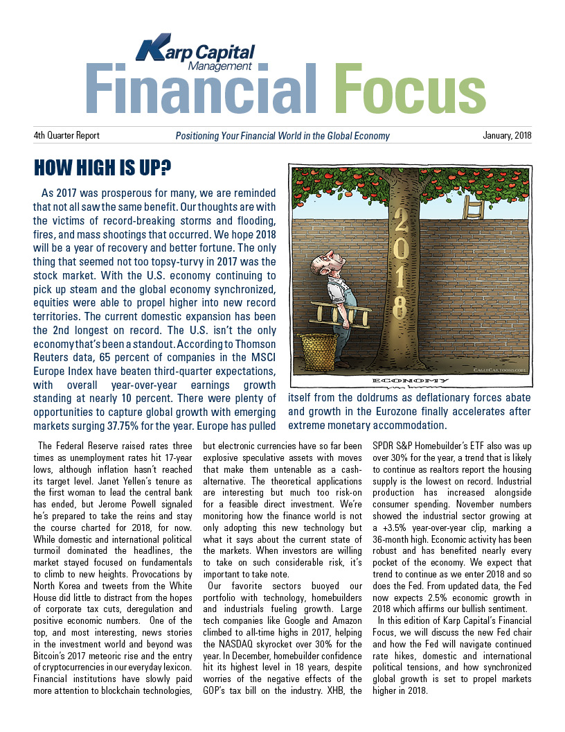 How high is up, Karp Capital Financial Focus newsletter 2017-4th quarter report